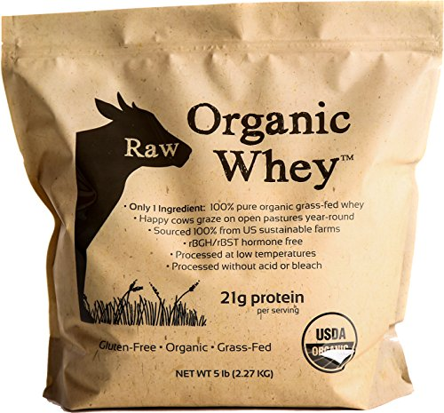 Raw Organic Whey 5LB - USDA Certified Organic Whey Protein Powder, Happy Healthy Cows, COLD PROCESSED Undenatured 100% Grass Fed + NON-GMO + rBGH Free + Gluten Free, Unflavored, Unsweetened(5 LB BULK)