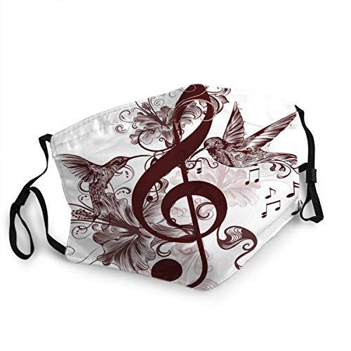 Atmungsaktiver Mund Gesicht Scraf Musik Hintergrund mit Violinschlüssel Kolibris