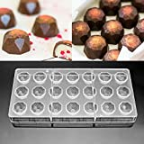 Jeteven Chocolate Moulds Sweet Candy DIY Mold Clear Polycarbonate 21 Half Diamond Candy Mold Mould