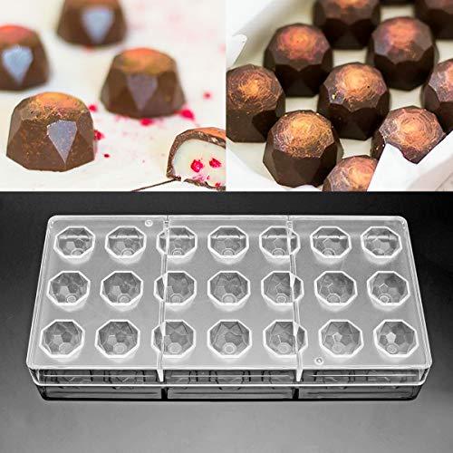 Jeteven® 3D Schokoladenform Pralinenform Backform Backzubehör aus Polycarbonat (PC) Transparent, für die Herstellung von Schokolade Süßigkeiten EIS, BPA-frei, FDA und SGS geprüft (Diamant (21 Stücke)