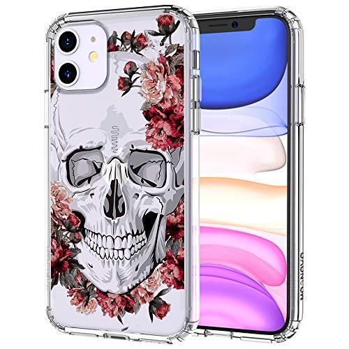 MOSNOVO iPhone 11 Hülle, Blühen Blumen Flower Totenkopf Schädel Muster TPU Bumper mit Hart Plastik Hülle Durchsichtig Schutzhülle Transparent für iPhone 11 (2019) (Floral Skull)