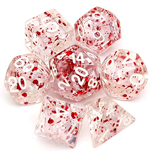 Haxtec Christmas Dice Polyhedral Resin DND Dice Set 7PCS White Red D&D Dice for Roleplaying Dice Games Dungeons and Dragons (White Christmas)