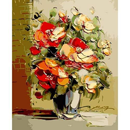Malen Nach Zahlen DIY Abstrakte Impression Blume Blume Leinwand Hochzeitsdekoration Kunst Bild Geschenk 40 * 50CM Kein Bilderrahmen