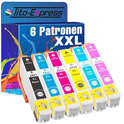Tito-Express PlatinumSerie 6X Druckerpatrone XXL TE2431 TE2432 TE2433 TE2434 TE2435 TE2436 kompatibel mit Epson Expression Photo XP-55 XP-750 XP-760 XP-850 XP-860 XP-950 XP-960