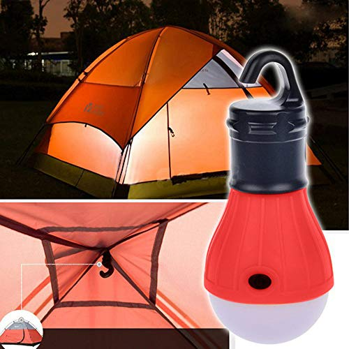 2Pcs Nachtlicht Zeltlicht FeiliandaJJ 3 Modi LED-Birnen Haken Hängelampe Camping Licht Nachtlampe Dekoration Lampe Nachtleuchte 3*AAA Batterie (rot)