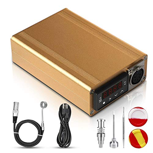 Digital Temperature Controller with 5ft Kevlar Wrapped 20MM Inner Diameter Heater Coil- Gold (Titanium Accessories Included)