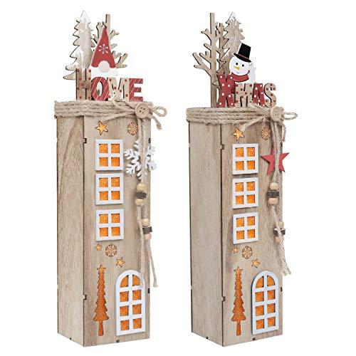 Valery Madelyn 2er 38.4cm LED Holz Säule Weihnachtsdekoration mit LED Beleuchtung Batteriebetriebene Holzsäule Ständer Aufsteller Tisch Weihnachtsdeko Weihnachtschmuck Wald Thema