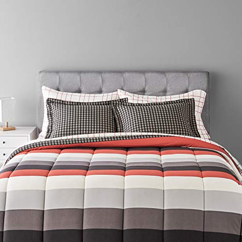 Amazon Basics 7-Piece Lightweight Microfiber Bed-In-A-Bag Comforter Bedding Set - Full/Queen, Red Simple Stripe