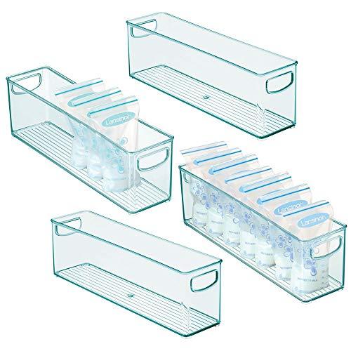 mDesign Juego de 4 cajones de plástico sin BPA para Aliment