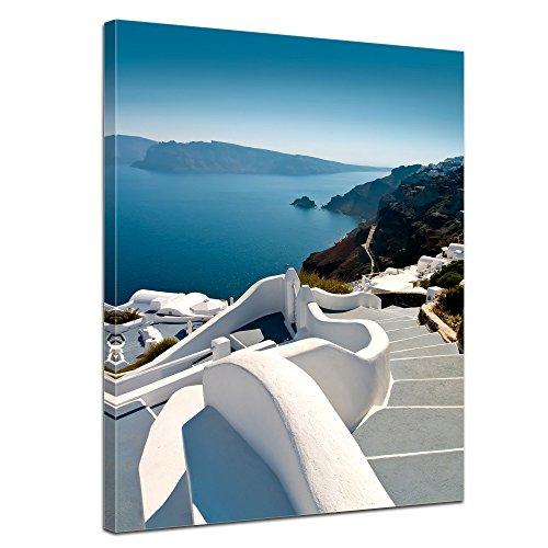 Bilderdepot24 Immagine su Telaio a Cunei Scale Santorini - Grecia - 30 x 40 cm - già Montato sul Telaio, Stampa Artistica intelaiata e pronta da Appendere