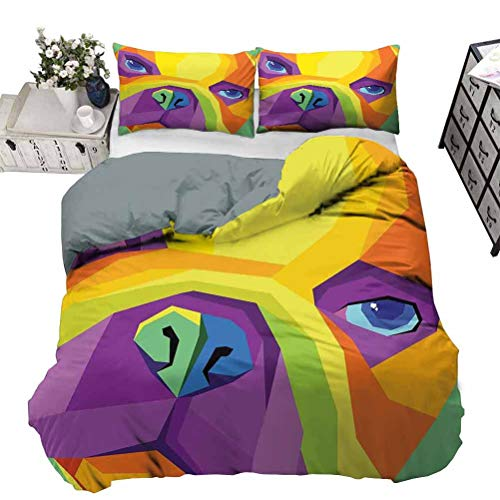 UNOSEKS LANZON Bedding Cover Abstract and Vibrant Colored Close-up Face Funny Graphic Design for Pet Lovers Teen Bedding Cover Breathable and Feels Fresh All Night Multicolor Queen - 230 x 230 CM
