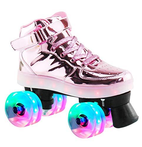 Asinean PU Leder Boot Quad Rollschuhe für Kinder und Erwachsene Frau mit LED-Leuchten, Coole Bunte Lichter, Cool Flash PU Rad Zweireihige Rollschuhe,Rosa,UK 4.5/EU 37