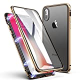 Funda iPhone X/XS, ZHIKE Estuche de Adsorción Magnético Frente y Parte Posterior de Vidrio Templado Cobertura de Pantalla Completa Diseño de una Pieza Cubierta con Tapa para Apple iPhone X/XS (Dorado)