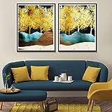 YuanMinglu Acuarela Naturaleza Pintura al óleo pájaro árbol Artista de la Pared decoración del hogar Carteles e Impresiones Impresiones Modernas de la Naturaleza sin Marco 30x40cm