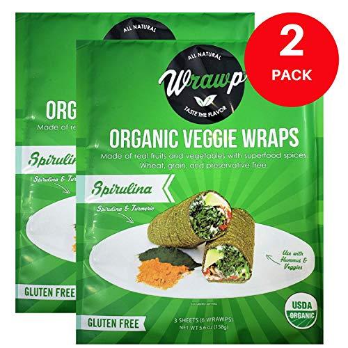 Raw Organic Spirulina Veggie Wraps | Wheat-Free, Gluten Free, Paleo Wraps, Non-GMO, Vegan Friendly Made in the USA (2 Pack)