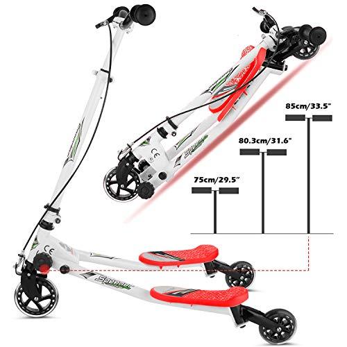 Y Flicker Scheren-Scooter, Slider, Tretroller, Tri-Slider, 3Räder, klappbar, für Kinder ab 5 Jahren, rot
