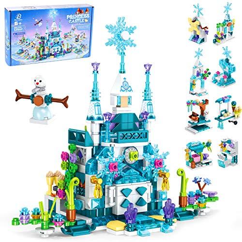 Tacobear Castillo Princesas Bloques de Construcción Niña Palacio de Hielo Castillo Juguete con 12 Bloques de Construcción 25 Formas para Niñas Niños Castillo Princesas