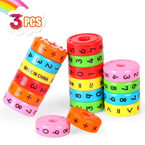 O-Kinee Lernspielzeug Mathematik,3pcs Lernen Rechnen Spielzeug,Mathe Lernspielzeug,Kinder Rechnen Spielzeug,für die frühe Motorik Entwicklung & Ausbildung ihres Kindes (Farbe)