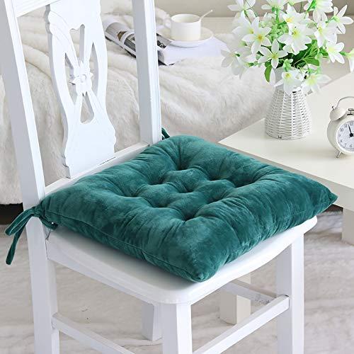 RAILONCH 1er/2er Set Stuhlkissen mit Bänder, 40x40 cm, Sitzkissen für Gartenstuhl, Küche oder Esszimmerstuhl (dunkelgrün,2er Set)