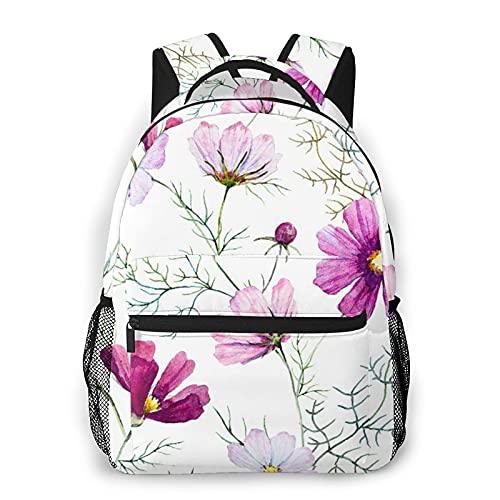 CVSANALA Multifuncional Casual Mochila,Floral Kosmeya Delicadas Flores Rosadas Y Blancas Flores Silvestres Blancas,Paquete de Hombro Doble Bolsa de Deporte de Viaje Computadoras Portátiles