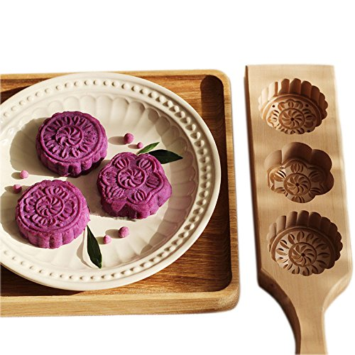 Hleeduo Wooden Moon Cake Steamed Pumpkin Pie Pasta Rice Cake Wooden Baking Mold (Three Mold)