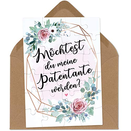 OWLBOOK Patentante Fragen rosa Blumenkranz Puzzle mit Brief-Umschlag Geschenke Geschenkideen für Patentante zur Geburt & Schwangerschaft zur Taufe