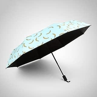 Banana Umbrella Black Umbrella Parasol Tri-fold Umbrella Rain and Rain Folding Umbrella Man and Woman Huhero (Color : Green)