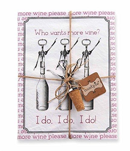 Mud Pie Who Wants More Wine Dishtowel & Wine Bottle Stopper Set