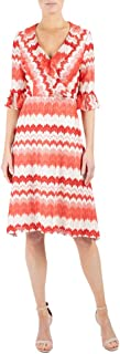 Donna Ricco Women's Short Bell Sleeve Ruffle V Neck Printed Chevron Knit Dress