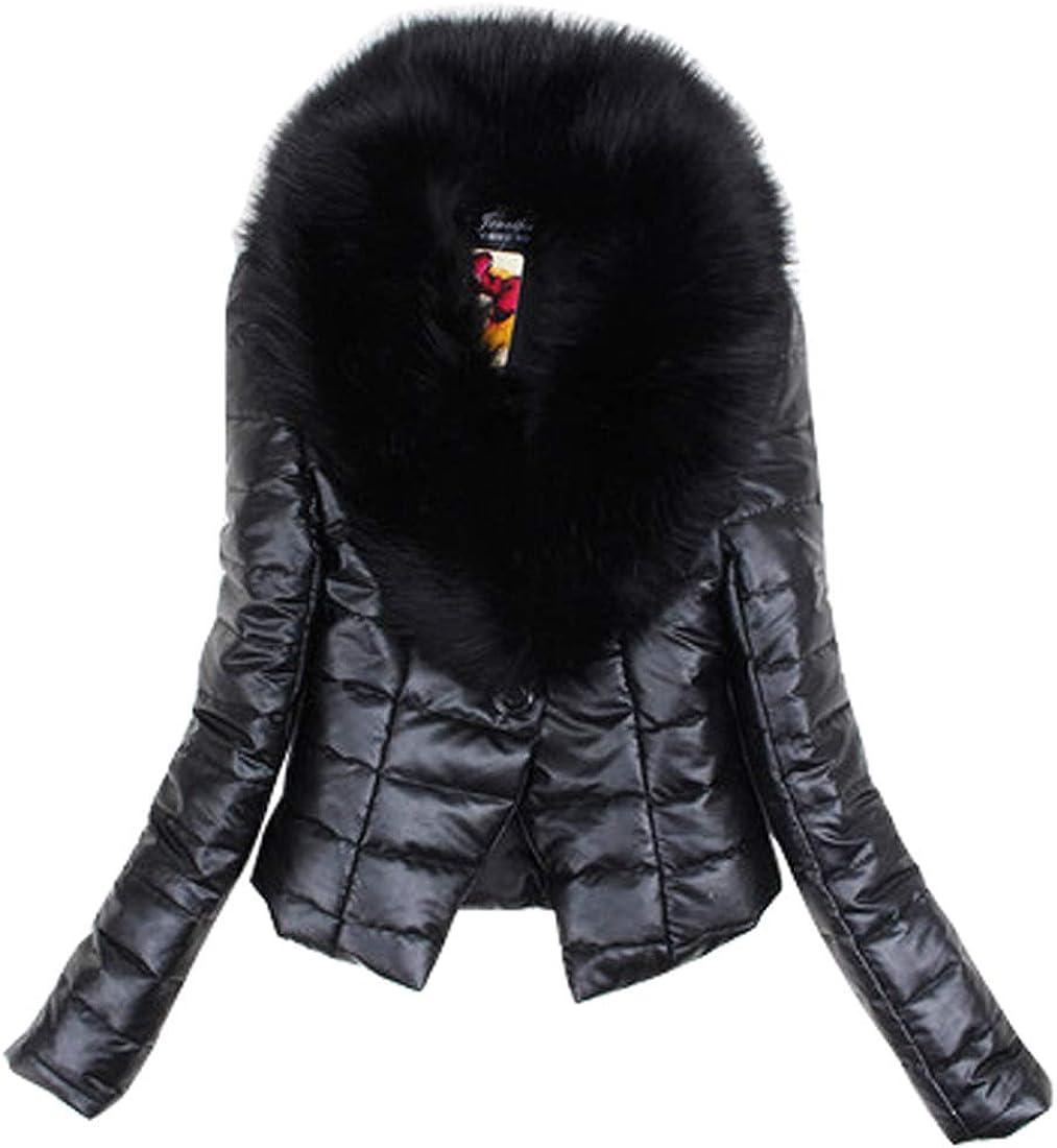 utcoco Women's Winter Warm Slim Faux Fur Collar Fleece Lined Leather Pu Outwear Jacket