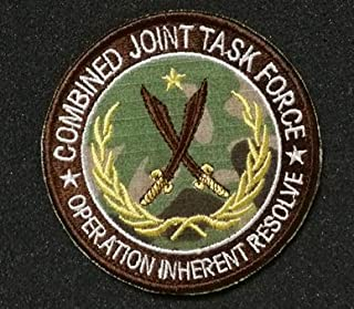 Combined Joint Task Force Operation Inherent Resolve Military Patch Fabric Embroidered Badges Patch Tactical Stickers for Clothes with Hook & Loop