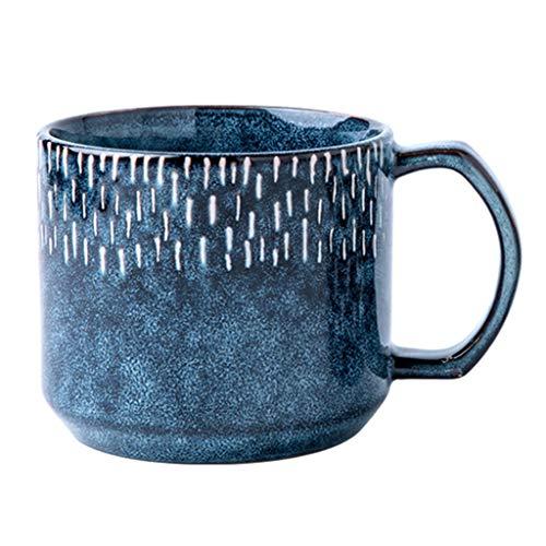 CHRYE-Tasses à café Rétro Tasse Bleue/personnelle Petit-déjeuner Coupe, Starry Sky Meteor Shower Série, Kiln Changer Glaze Craft, utilisé for Décoration, Cadeaux de Vacances, 475ml