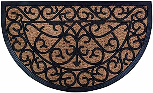 Esschert Design Rubber Doormat With Cocos Half Round 29 5 X 17 75