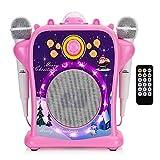 子供用カラオケマシン-2つの有線マイク、LEDディスコライト、6種類の音を変える特殊効果を備えたポータブルBluetoothスピーカー歌唱機