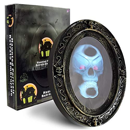 ZALA Sprechender Spiegel in Schwarz und Gold Ovaler Halloween Spiegel mit gruseligen Bild