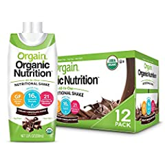 Includes 12 (11 ounce) ready to drink orgain organic nutrition creamy chocolate fudge all in one nutritional shakes 16 grams of organic protein (from organic whey protein concentrate and organic grass fed milk protein concentrate), 2 grams of dietary...