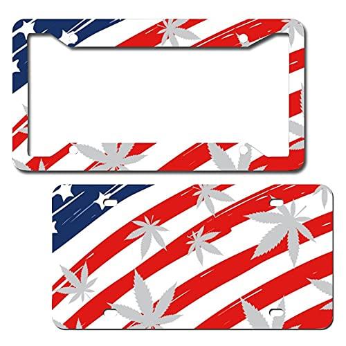 by Unbranded Placa de matrícula de metal con bandera americana y hoja de arce para coches, marco de matrícula de aluminio novedad para auto placa de coche, juego de 2 novedad decoración del coche
