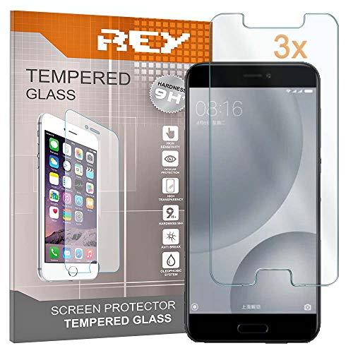 REY 3X Protector de Pantalla para XIAOMI MI5 C - MI5C, Cristal Vidrio Templado Premium