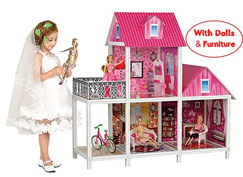Bettina 39'' Large Plastic Dollhouse with 3 Dolls, Big Playhouse Set with Furniture, Pink