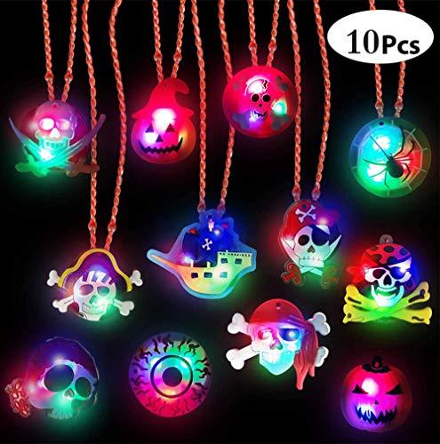 10 piezas de collar de niños que brillan intensamente con LED de Halloween regalos de fiesta de cumpleaños de Halloween que brillan en la oscuridad suministros de fiesta de Halloween