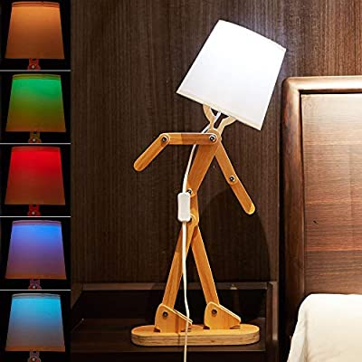 25inch LED Wooden Table Lamp for Living Room Bedroom and Study Desk, Cool DIY Humor Robot Desk Lamp,Beside Table Lamp with 8 Modes Remote Control Color Bulb