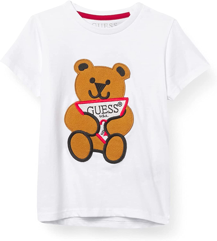 GUESS Boys' Little Short Sleeve Applique Logo Bear T-Shirt