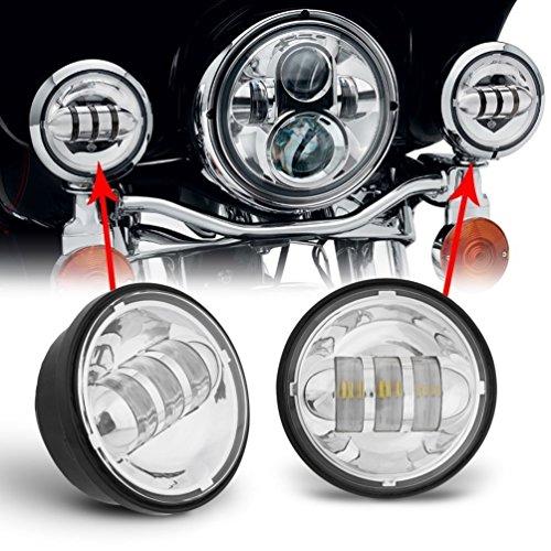Feux de Brouillard LED 11.2cm Phare Antibrouillard 4.5 pouces Lampes Brouillard 40W ronds clairs pour moto(1 paire,Blanc)
