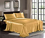 Satin Sheets Queen [4-Piece, Gold] Hotel Luxury Silky Bed Sheets - Extra Soft 1800 Microfiber Sheet Set, Wrinkle, Fade, Stain Resistant - Deep Pocket Fitted Sheet, Flat Sheet, Pillow Cases
