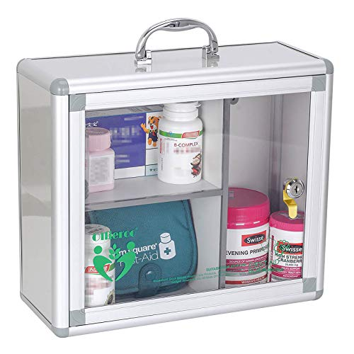 Ollieroo Portable Wall Medicine Cabinet Box Lock Medication Box with Handle First Aid Wall Cabinet Box Organizer Container