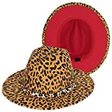 Leopard Fedora Hat Red Bottom Two Tone Wide Brim Felt Belt Buckle Panama Hat Jazz Dress Hat Trendy Womens & Mens