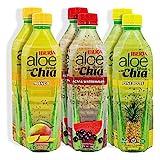 Iberia Aloe Vera Juice with Chia Variety Pack (Pack of 6) 2 x Acai & Watermelon, 2 x Mango, 2 x Pineapple