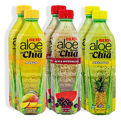 Iberia Aloe Vera Drink with Chia Seeds, Variety Pack, 16.9 Oz (Pack of 6)