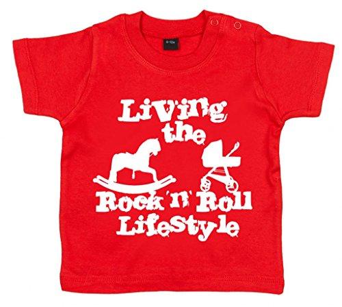 Image Vêtements bébé, Living The Rock 'n Roll Lifestyle, T-Shirt bébé, 12-18m, Rouge