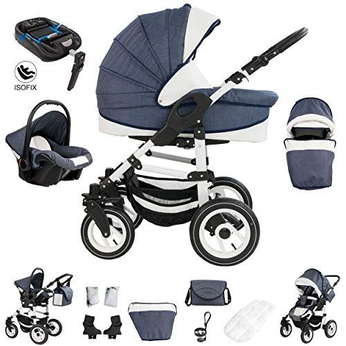 Bebebi Florenz | ISOFIX Basis & Autositz | 4 in 1 Kombi Kinderwagen | Hartgummireifen | Farbe: Marco Darkgrey White